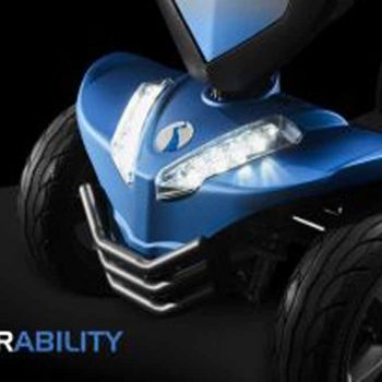 close up of lights on blue mobility scooter