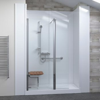 seat within white shower