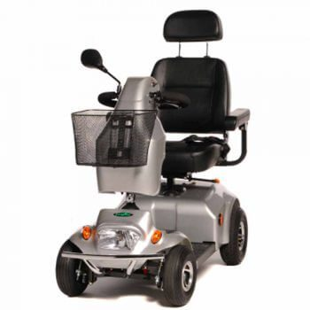 Grey mobility scooter with basket