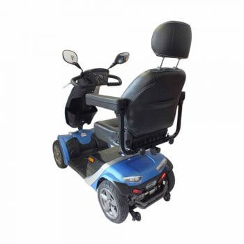 blue mobility scooter with grey seat