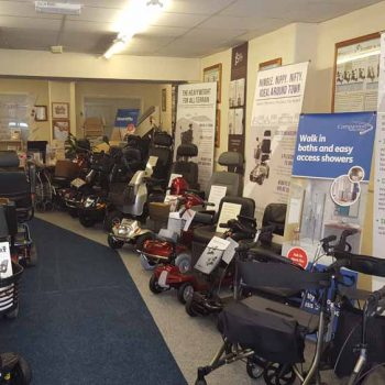 showroom full of mobility scooters