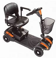 Black mobility scooter with orange stripes