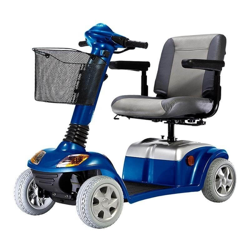 Shiny blue mobility scooter